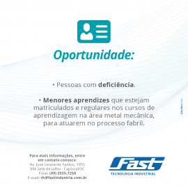 Confira as oportunidades Fast e venha fazer parte de nossa equipe