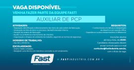 Vaga disponível | Auxiliar de PCP
