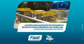 Construção da Estação de Tratamento de Esgoto Santa Terezinha, em Canela/RS, já está em fase final de testes
